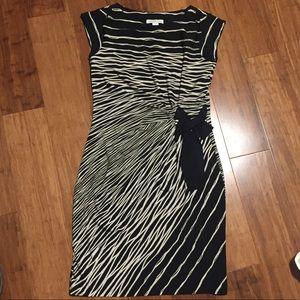 Coldwater Creek Black and Cream Cinched Dress